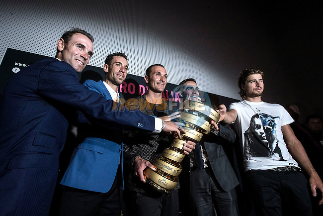 UCI leading points rider Alejandro Valverde (ESP), Vincenzo Nibali (ITA), Ivan Basso (ITA), defending Giro Champion Alberto Contador (ESP) and newly crowned World Champion Peter Sagan (SVK)  at the Giro d'Italia 2016 Presentation held at Expo Milano, Milan, Italy. 5th October 2015.<br /> Picture: ANSA/Angelo Carconi | Newsfile