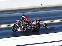 Feb 12, 2017; Pomona, CA, USA; NHRA top fuel nitro Harley rider Tii Tharpe during the Winternationals at Auto Club Raceway at Pomona. Mandatory Credit: Mark J. Rebilas-USA TODAY Sports