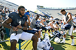 Akile Davis prepares for the team scrimmage in LaVell Edwards Stadium on Thursday.<br /> <br /> 17FTB Prac 8-17<br /> <br /> BYU Football Fall Camp<br /> <br /> August 17, 2017<br /> <br /> Photo by Jaren Wilkey/BYU<br /> <br /> &copy; BYU PHOTO 2017<br /> All Rights Reserved<br /> photo@byu.edu  (801)422-7322