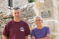 Guilhem Bruguière with his wife Isabelle Domaine Mas Bruguiere. Pic St Loup. Languedoc. Owner winemaker. France. Europe.