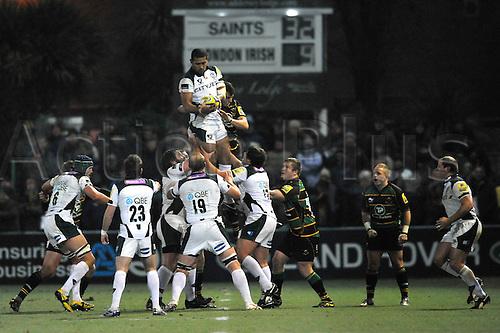 26.11.10. Chris Hala ufia of London Irish wins the line out. Aviva Premiership Rugby Round 9 Northampton Saints vs London Irish at Franklin s Gardens, Northampton, England