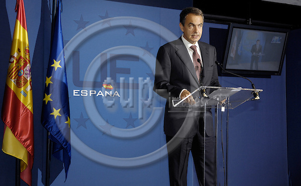 Brussels-Belgium - 16 October 2008 -- European Council, EU-summit under French Presidency; here, José Luis Rodríguez ZAPATERO (Jose, Rodriguez), Prime Minister of Spain, during his press briefing on the outcome of the summit  -- Photo: Horst Wagner / eup-images