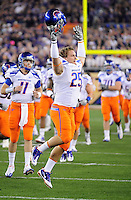 Jan. 4, 2010; Glendale, AZ, USA; Boise State Broncos linebacker (25) Hunter White against the TCU Horned Frogs in the 2010 Fiesta Bowl at University of Phoenix Stadium. Boise State defeated TCU 17-10. Mandatory Credit: Mark J. Rebilas-