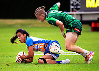 The women's pool match between Manawatu and Bay Of Plenty on day one of the 2018 Bayleys National Sevens at Rotorua International Stadium in Rotorua, New Zealand on Saturday, 13 January 2018. Photo: Dave Lintott / lintottphoto.co.nz