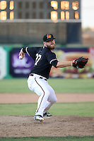 Shane McCain (27) of the High Desert Mavericks pitches against the Rancho Cucamonga Quakes at Heritage Field on August 7, 2016 in Adelanto, California. Rancho Cucamonga defeated High Desert, 10-9. (Larry Goren/Four Seam Images)