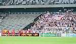 Stockholm 2014-07-28 Fotboll Superettan Hammarby IF - Assyriska FF :  <br /> Assyriskas spelare tackar Assyriskas supportrar efter matchen<br /> (Foto: Kenta J&ouml;nsson) Nyckelord:  Superettan Tele2 Arena Hammarby HIF Bajen Assyriska AFF glad gl&auml;dje lycka leende ler le supporter fans publik supporters