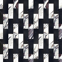 Ziggurat Grand, a stone hand-cut mosaic, shown in polished Plumeria and Nero Marquina , is part of the Tissé™ collection for New Ravenna.