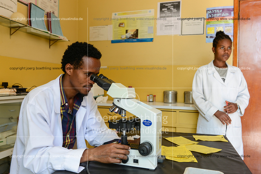 ETHIOPIA Taza Catholic Health Center , laboratory, microscope, checking of bacteria and virus