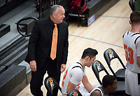 Brian Newhall, head men's basketball coach <br /> The Occidental College men's basketball team plays against Chapman College in Rush Gym on Feb. 14, 2018.<br /> (Photo by Marc Campos, Occidental College Photographer)