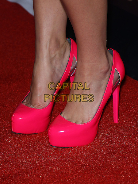 Jessica Lowndes' shoes.Jessica Lowndes hosts the night at Gallery Nightclub iniside Planet Hollywood Hotel and Casino Resort, Las Vegas, Nevada, USA..October 1st, 2011.detail feet heels platform cut out pink shoes.CAP/ADM/MJT.© MJT/AdMedia/Capital Pictures.
