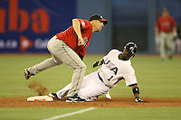 March 7, 2009:  Second Baseman Pete Orr (4) of Canada tags out Jimmy Rollins (1) of Team USA on a steal attempt during the first round of the World Baseball Classic at the Rogers Centre in Toronto, Ontario, Canada.  Team USA defeated Canada 6-5 in both teams opening game of the tournament.  Photo by:  Mike Janes/Four Seam Images