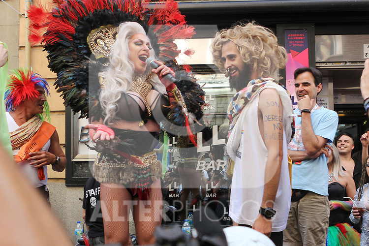 The winner of a high-heel race as part of Gay Pride month in the neighbourhood of Chueca on July 4, 2019.on July 04, 2019 in Madrid, Spain.(ALTERPHOTOS/ItahisaHernadez)