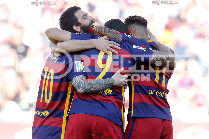 FC Barcelona's Arda Turan celebrates goal with his partners during La Liga match. May 14,2016. (ALTERPHOTOS/Acero) /NortePhoto.com
