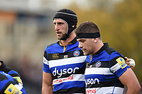 Luke Charteris of Bath Rugby looks on at a scrum. Aviva Premiership match, between Bath Rugby and Gloucester Rugby on October 29, 2017 at the Recreation Ground in Bath, England. Photo by: Patrick Khachfe / Onside Images