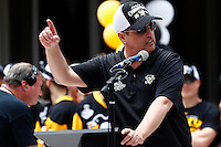 Pittsburgh Penguins CEO David Morehouse speaks on stage during the Stanley Cup victory parade in downtown Pittsburgh, Pennsylvania on June 15, 2016. (Photo by Jared Wickerham / DKPS)