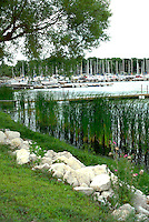 Boat docks and lake shore.  White Bear Lake Minnesota USA
