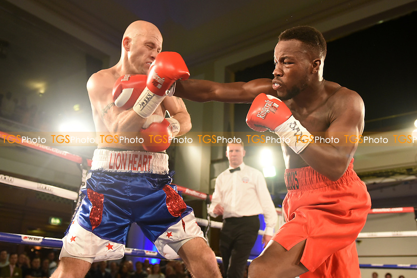 Darryl Williams (red shorts) defeats Richard Horton during a Boxing Show at the Camden Centre, Euston Road, England on 02/10/2015