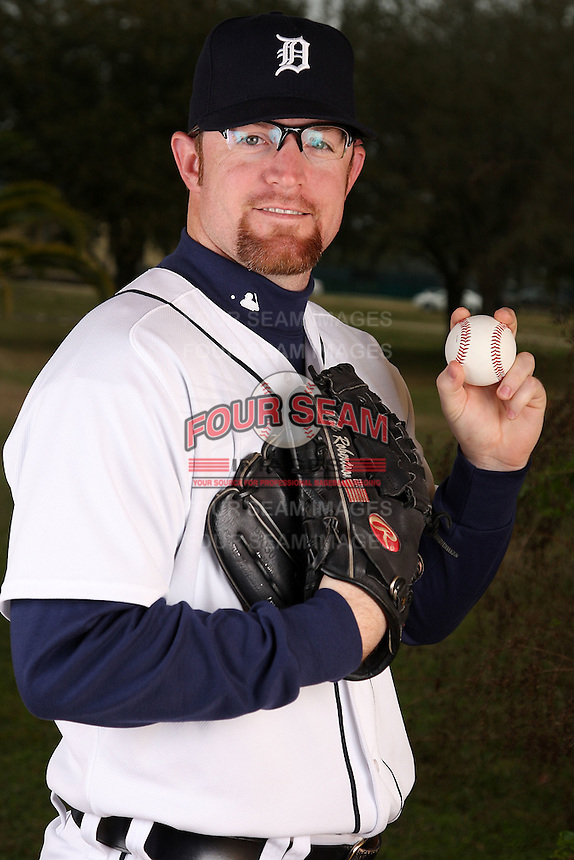 February 27, 2010:  Pitcher Nate Robertson (29) of the Detroit Tigers poses for a photo during media day at Joker Marchant Stadium in Lakeland, FL.  Photo By Mike Janes/Four Seam Images