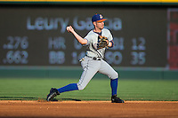 Durham Bulls shortstop Nick Franklin (6) makes a throw to first base against the Charlotte Knights at BB&T BallPark on July 22, 2015 in Charlotte, North Carolina.  The Knights defeated the Bulls 6-4.  (Brian Westerholt/Four Seam Images)
