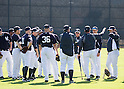 Ichiro Suzuki,  Hideki Matsui (Yankees),<br /> FEBRUARY 20, 2014 - MLB :<br /> New York Yankees' Ichiro Suzuki (5th L) and guest instructor Hideki Matsui (R) during the New York Yankees spring training camp at George M. Steinbrenner Field in Tampa, Florida, United States. (Photo by Thomas Anderson/AFLO) (JAPANESE NEWSPAPER OUT)