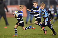 A general view of the half-time tag rugby. Anglo-Welsh Cup match, between Bath Rugby and Newcastle Falcons on January 27, 2018 at the Recreation Ground in Bath, England. Photo by: Patrick Khachfe / Onside Images