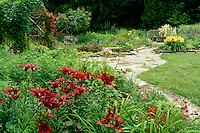 Looking across the garden each corner has a unique character and highlights-- the ruby lilies, the arbor, the sun loving native grasses-- all connected by a flagstone path
