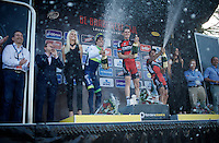podium champaign party <br /> 1/ Ben Hermans (BEL/BMC)<br /> 2/ Michael Matthews (AUS/Orica-GreenEDGE)<br /> 3/ Philippe Gilbert (BEL/BMC)<br /> <br /> 55th Brabantse Pijl 2015