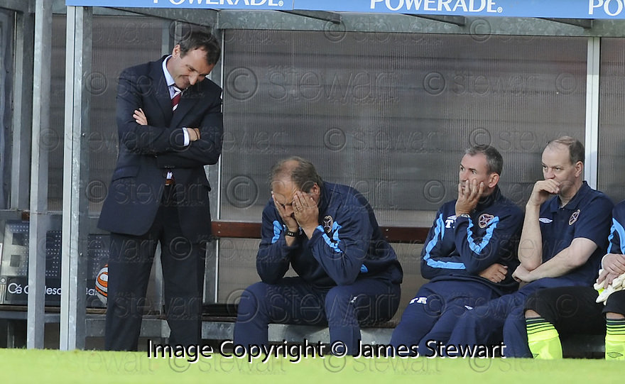 17/08/2009  Copyright  Pic : James Stewart.sct_jspa23_dundee_utd_v_hearts  .HEARTS MANAGER CSABA LASZLO WATCHES HIS SIDE GO 2-0 DOWN TO DUNDEE UTD....James Stewart Photography 19 Carronlea Drive, Falkirk. FK2 8DN      Vat Reg No. 607 6932 25.Telephone      : +44 (0)1324 570291 .Mobile              : +44 (0)7721 416997.E-mail  :  jim@jspa.co.uk.If you require further information then contact Jim Stewart on any of the numbers above.........