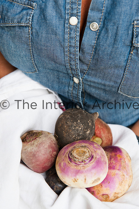Detail of woman holding autumn root vegetables in her arms