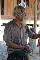 elder villager Sakrias gives his comments while ceremonies for a new built house, village Bena, Ngada people, Flores, Indonesia