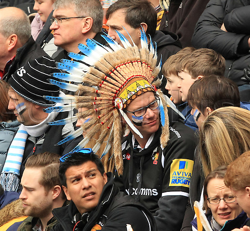 09.04.2016. Ricoh Arena, Coventry, England. European Champions Cup. Wasps versus Exeter Chiefs.  Exeter Fan in the crowd wearing his Indian Chief head-dress.