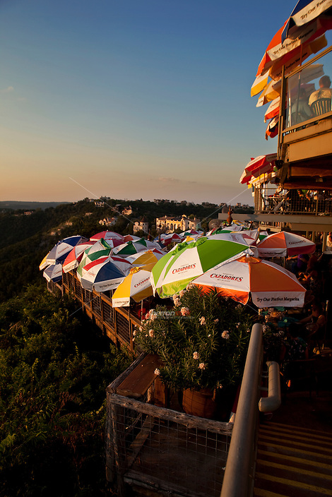 Warm sunset falls on Lake Travis Restaurant