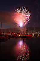 4th of July fireworks over harbor, Santa Barbara, California, USA, 2011