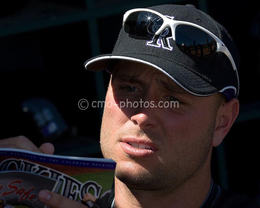 Mar 19, 2008; Tucson, AZ, USA; Colorado Rockies left fielder Matt Holliday (5) signs autographs prior to a game against the Chicago White Sox at Tucson Electric Park.  The game ended in a 10-10 tie.