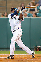 Jabari Blash #17 of the Pulaski Mariners follows through on his swing against the Greeneville Astros at Calfee Park August 29, 2010, in Pulaski, Virginia.  Photo by Brian Westerholt / Four Seam Images