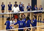 The Marymount sidelines cheer on the team during a college volleyball match against  PSU Harrisburg at Marymount University in Arlington, Vir., on Wednesday, Oct. 9, 2013.<br /> Photo by Cathleen Allison