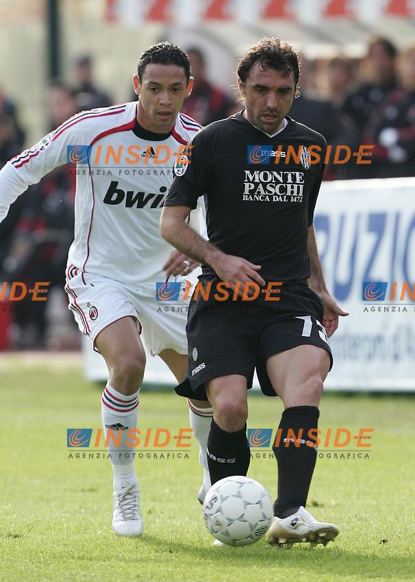 Valerio Bertotto (Siena), Ricardo Oliveira (Milan)<br /> Italian &quot;Serie A&quot; 2006-07<br /> 17 Feb 2007 (Match Day 24)<br /> Siena-Milan (3-4)<br /> &quot;Artemio Franchi&quot;-Stadium-Siena-Italy<br /> Photographer: Andrea Staccioli INSIDE