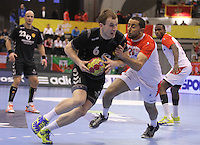15.01.2013 Granollers, Spain. IHF men's world championship, prelimanary round. Picture show  Fahrudin Melic    in action during game between Tunisia vs Montenegro at Palau d'esports de Granollers