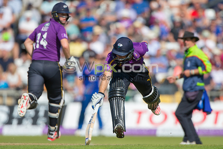 Picture by Alex Whitehead/SWpix.com - 06/09/2015 - Cricket - Royal London One-Day Cup, Semi-Final - Yorkshire CCC v Gloucestershire CCC - Headingley Cricket Ground, Leeds, England - Yorkshire's Adam Lyth (R) and Alex Lees (L) run between the wickets.