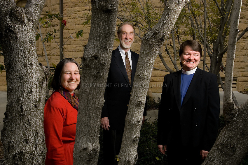 Rev. Scotty McLennan, Rabbi Patricia Karlin-Neumann (red outfit), Rev. Joanne Sanders outside Memorial Church.