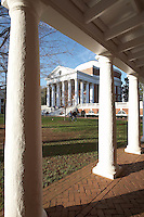 Rotunda and columns at UVA.<br /> The University of Virginia was founded by Thomas Jefferson and is in Charlottesville Virginia.
