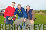 "GROOMING: Pat Murphy who groomed his greyhound ""Her Quest"" before the Ballyheigue Coursing helping out were Eoin Lynch and Tom Kennelly..."