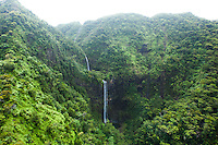 An aerial view of three waterfalls on Kaua'i.