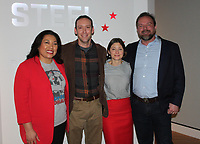 NWA Democrat-Gazette/CARIN SCHOPPMEYER Norma and Rick Frisby (from left) and Rhianon Deleeuw and Josh Mahony enjoy the new exhibition at Crystal Bridges.