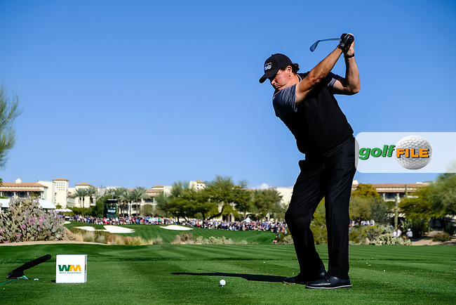 Phil Mickelson (USA) on the 4th tee during the 2nd round of the Waste Management Phoenix Open, TPC Scottsdale, Scottsdale, Arisona, USA. 01/02/2019.<br /> Picture Fran Caffrey / Golffile.ie<br /> <br /> All photo usage must carry mandatory copyright credit (&copy; Golffile | Fran Caffrey)