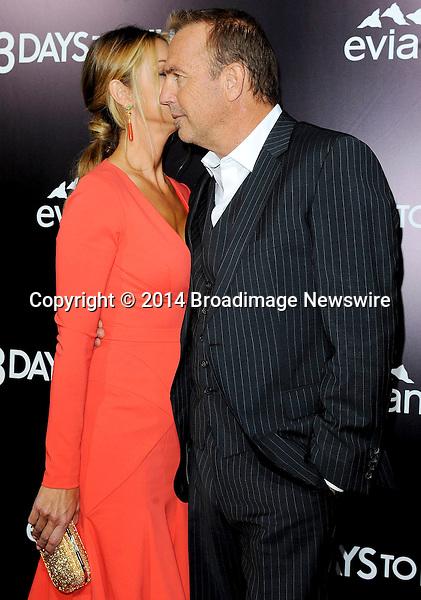 Pictured: Kevin Costner, Christine Baumgartner<br /> Mandatory Credit &copy; Adhemar Sburlati/Broadimage<br /> Film Premiere of 3 Days to Kill<br /> <br /> 2/12/14, Los Angeles, California, United States of America<br /> <br /> Broadimage Newswire<br /> Los Angeles 1+  (310) 301-1027<br /> New York      1+  (646) 827-9134<br /> sales@broadimage.com<br /> http://www.broadimage.com