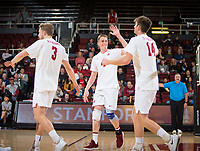 STANFORD, CA - January 5, 2019: Paul Bischoff, Eric Beatty, Kyler Presho at Maples Pavilion. The Stanford Cardinal defeated UC Santa Cruz 25-11, 25-17, 25-15.