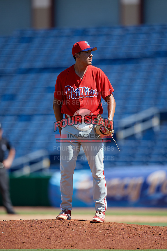 Philadelphia Phillies pitcher Michael Gomez (60) looks in for the sign during a Florida Instructional League game against the Toronto Blue Jays on September 24, 2018 at Spectrum Field in Clearwater, Florida.  (Mike Janes/Four Seam Images)