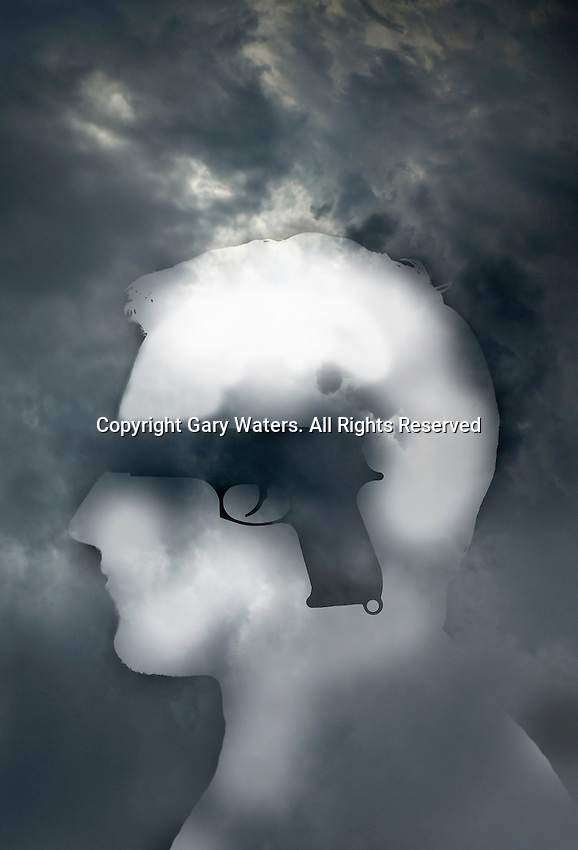 Gun over silhouette of a head ExclusiveImage