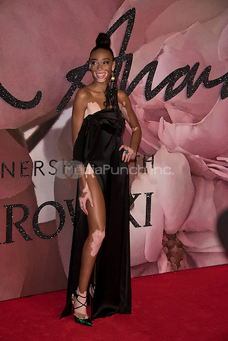 Winnie Harlow<br /> The Fashion Awards 2016 , arrivals at the Royal Albert Hall, London, England on December 05 2016.<br /> CAP/PL<br /> ©Phil Loftus/Capital Pictures /MediaPunch ***NORTH AND SOUTH AMERICAS ONLY***